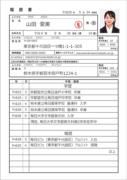 履歴書(表)