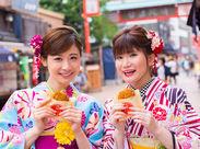 浅草駅から徒歩1分!日本の文化である着物姿で過ごす、特別な1日をつくるおしごと*。楽しみながら稼げちゃう♪