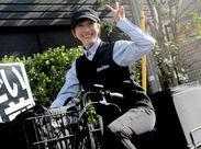 電動自転車もしくは、屋根付きバイクでお届け♪とっても楽チンです◎街中を散歩する感覚で、楽しみながら働けます☆