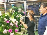 未経験さんも丁寧に教えますので ご安心ください♪ お花の知識が身につく楽しいバイトです◎