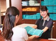 お風呂エリアのスタッフも同時募集中♪ フロントやアメニティなど、お仕事は色々です!