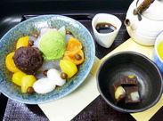 """試食会は月1~2回☆季節の甘味とアイスが食べられます。今の季節は""""栗ひろい あんみつ""""♪"""