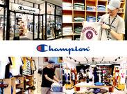 """どんなシーンでも活躍できる""""チャンピオン""""。 学生~中高年まで幅広く世界中で愛されるブランド店で 正社員を目指してお仕事可能"""