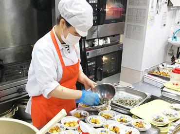 キレイな調理場でのお仕事です♪*゚ 裏方なのでもくもくと作業でき、あっという間に時間が過ぎますよ!