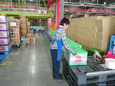 商品の入った荷物を店舗毎に仕分ける、 作業内容としては簡単な作業です!