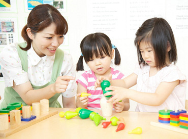 家庭と両立したい方、保育士のお仕事に復帰されたい方、大歓迎です♪お子さま達の笑顔に囲まれてお仕事ができます!