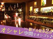 しっとりとした大人の飲みに最適なオシャレバーです♪お友達にも紹介したくなっちゃうような雰囲気バツグンの空間★