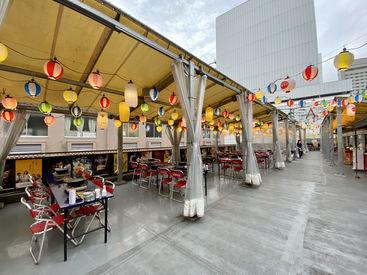 【働きながら夏を楽しもう!】 お祭り会場のようなビアガーデン♪ 屋根があるので雨でも中止になりません!