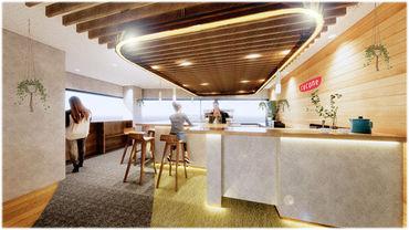 まるで本物のBarみたいなオシャレな空間です♪ 写真は本社のものですが、新オフィスのジュースバーも素敵な内装になる予定です◎