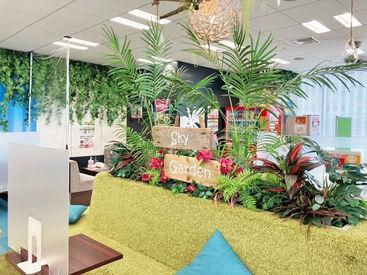 【薬院駅スグ】キレイなオフィス! 南国リゾート風のキレイな休憩室には 冷蔵庫、電子レンジ、ポットなどの設備完備♪