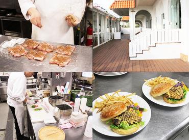 こちらはロンハーマン カフェのキッチン★シャークチキンバーガーなど調理♪ あまった素材でオリジナルまかないを作っても◎