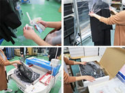 服のタグ付け、梱包など出荷の準備をお任せします♪ 重いものを持ち上げたり、運んだりする作業はありません◎