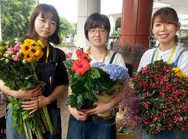 <未経験OK>お花が好きな方大歓迎★ はじめは簡単な作業から♪少しずつ慣れていきましょう! 経験がある人は花束作りなども◎