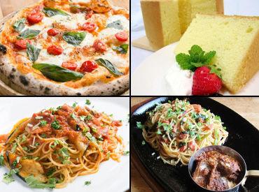 ピザやパスタなどのイタリアンの他、 しっとりふわふわのシフォンケーキなど スイーツも人気♪*。