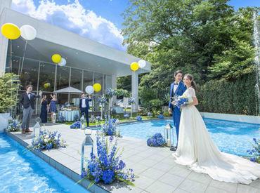 """""""アンジェ ラ フォンティーヌ"""" 久留米でリゾート感を味わうことができ、 料理・おもてなしも自慢の 弊社が展開する結婚式場♪"""