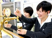 """キリンビール工場""""キャスト""""の一員として、おいしいビールをご提供★*誰でもおいしいビールを注げるようになりますよ♪"""