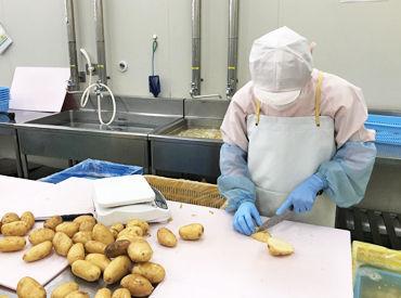 こちらはジャガイモをカットしているところです!帽子や手袋を付けての作業なので、衛生面も安心◎