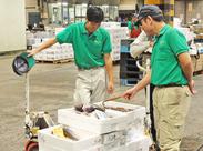 毎年恒例!人気の超短期冬バイト☆ 7日間出勤で、なんと3万円以上の収入がGET可能! 鮮魚を、台車を使って運ぶだけ☆