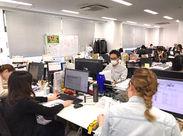 ワンフロアで風通しが良いオフィス♪堅苦しい上下関係も一切なく、のびのびと働いています♪*サポート体制もバツグンです★