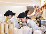 社員食堂と併設したカフェテリア内でのお仕事になります*接客、コーヒーマシーンの使い方などイチから丁寧にお教えします◎