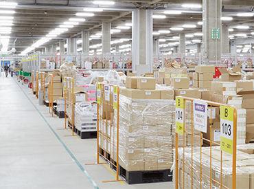 広い倉庫内もエリアごとの作業なので 疲れすぎずいい運動になりますよ!