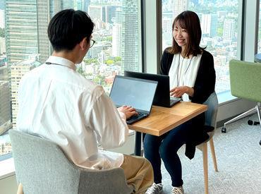 """なんと… オフィスはグランドタワー39F! 晴れの日は """"富士山""""がみえることも♪ 毎日綺麗なオフィスで 絶景を見ながら働けます◎"""