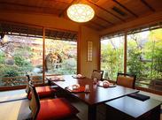 日本の安らぎとおもてなしをお客様へ★庭園には緑が広がり、池で鯉が泳ぐ音・小鳥のさえずりなど自然の音色が聞こえます♪