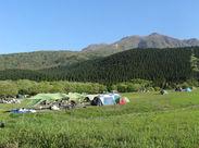 久住の雄大な自然に囲まれてお仕事★とても開放的な気分になります♪キャンプ場を訪れるお客様の、思い出づくりをお手伝い◎