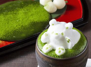 """宇治抹茶の本格的な味わいが人気を呼んだ、京都の有名店♪ こちらは、3Dラテアートが人気の""""まろ濃い抹茶ラテ""""です★"""