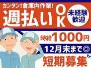 <時給1000円×短期募集> 年末までの稼げるお仕事発見! 週3日~程よく収入をGET! 高校生~Wワーカーまで大歓迎♪