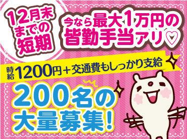 【12月末までの短期】 200名の大量募集!