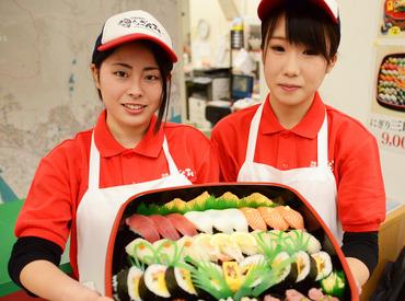 \男女スタッフ活躍中!/ まずは明るい笑顔&元気な挨拶♪ 楽しく働きたい人は「寿司ざんまい」へいらっしゃい☆