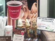 コーヒーのほかにも、ソフトクリームも人気♪思わず食べたくなっちゃいます!!