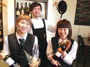 おしゃれなお店で働きたい、お酒が好きな方歓迎♪優しくて楽しいスタッフばかりなので、すぐに馴染めますよ◎ホールも歓迎♪