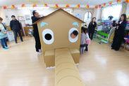 保育園などでイベントを実施することも!地域に根差しています◎段ボールハウスの組み立ては、なんだかワクワク♪