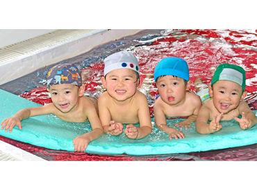 子どもたちと触れ合える時間も楽しい♪ キラキラな笑顔や「泳げるようになった!」 という一言がやりがいの1つ◎
