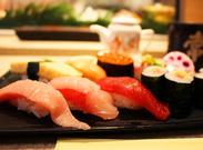 ★当店自慢のお寿司です★中とろ/まぐろ/つぶ貝/あわびetc…贅沢メニューをお得にゲットできる日も!?お寿司好き大歓迎!