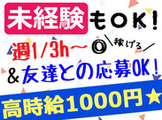 【24時間】あなたの希望の時間で お仕事できます(。・ω・)ノ 時給1000円以上だからスキマ時間に サクッと稼げますよ♪