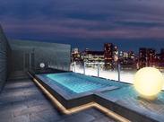 """お客様を非日常へ誘う上質空間""""Sky & Garden Resort""""をコンセプトに最上階には豪華な大浴場も建設予定!※画像はイメージです"""