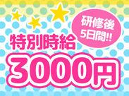 研修が終わったら>>5日間は時給3000円* 超高時給で働けるレアバイト♪+。 友達同士の応募も大歓迎です!!!