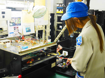 配属先によってお仕事は様々! 電子基板に部品を挿し込んだり、電気部品を組み立てる作業等! 接客ナシのモクモク作業なのが嬉しい