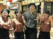 「飲食バイトが初めて…」という方も大歓迎!!頼れる先輩スタッフ達がアナタと一緒にお仕事できるのを楽しみに待っています!!